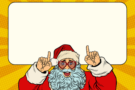 Santa Claus points to the white background