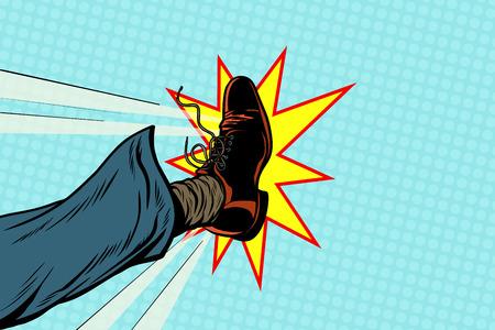 Businessman kicking, pop art foot Illustration