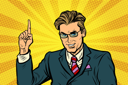 Businessman pointing finger up Ilustrace