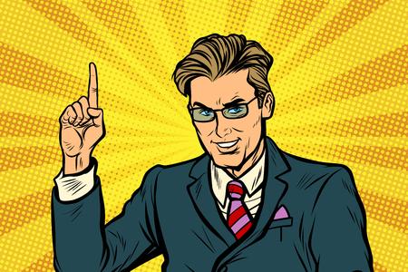 Businessman pointing finger up Illustration