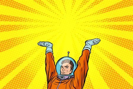 Astronaut die iets op zijn handen houdt