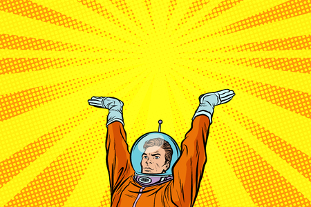 Astronaut holding something on his hands Illustration