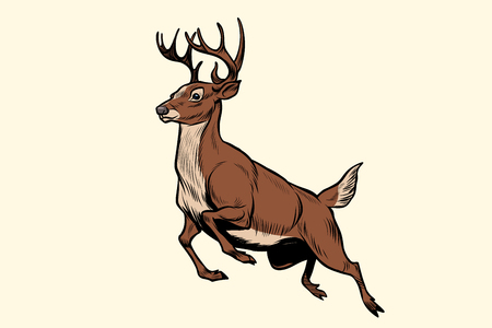 実行中の鹿ジャンプ  イラスト・ベクター素材