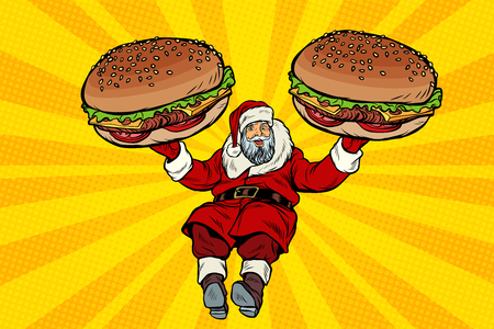 Santa Claus with two burgers, fast food delivery gift