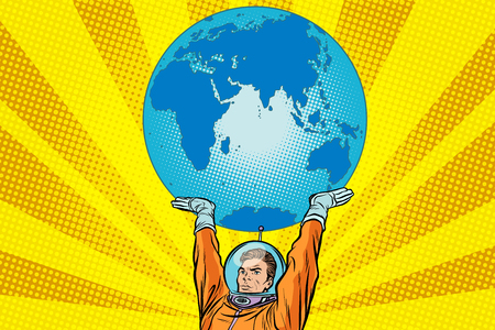 Retro astronaut is holding the planet Earth Ilustrace