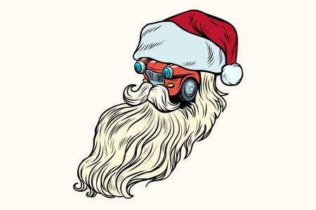 Car Santa Claus Christmas character Ilustracja