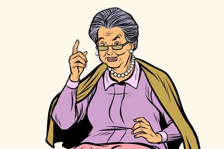 Anciana, apuntando el dedo hacia arriba