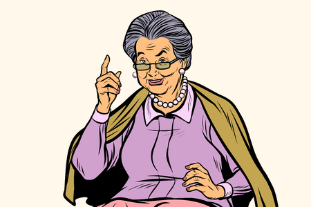 Elderly woman pointing finger up