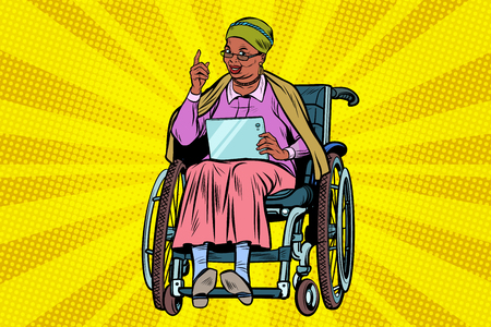 Elderly African woman disabled person in a wheelchair Ilustração