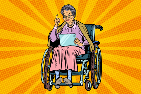 Disabled elderly woman in a wheelchair Ilustração