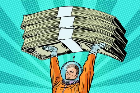 Astronaut die geld vasthoudt