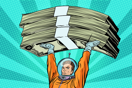 Astronaut holding money Illustration