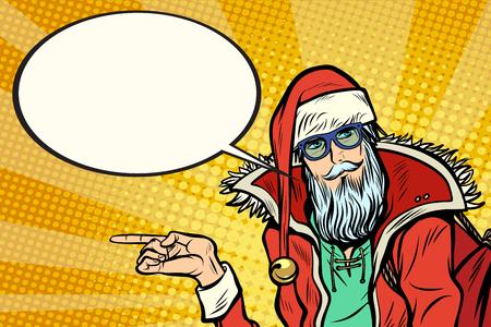 Hipster 산타 클로스가 옆에 표시하고 만화 구름을 말한다 일러스트