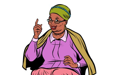 African elderly woman pointing finger up Vectores