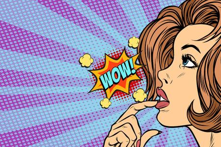 Wow vrouw denkt pop-art retro