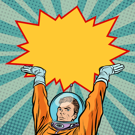 Astronaut holding comic bubble Stock Illustratie