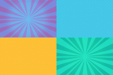 Collection of colored pop art retro backgrounds with halftones
