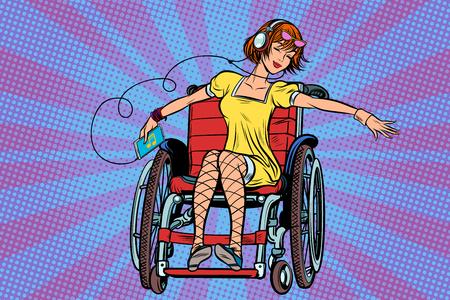 Moderna ragazza adolescente gioiosa disabilitato in una sedia a rotelle, ascoltando m Archivio Fotografico - 89111754