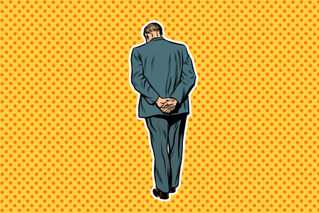 Adult man standing with back pop art retro background Imagens
