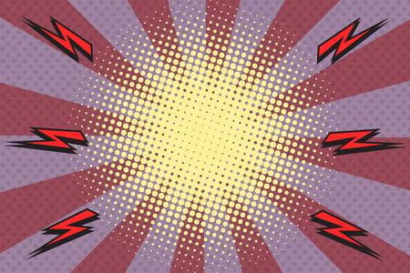 Pop art rays lightning illustration.