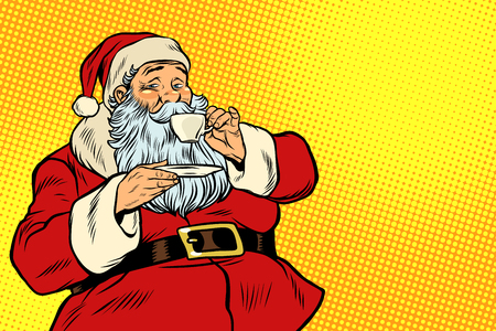Santa Claus drinking tea or coffee