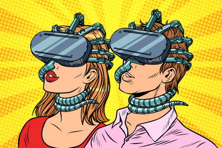 Couple man and woman in virtual reality. Pop art retro vector vintage illustrations Illustration