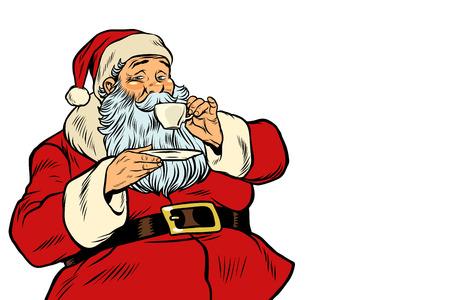 Père Noël, boire du thé ou du café. isolé sur fond blanc. Illustration vectorielle rétro pop art Vecteurs