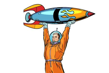 Astronaut en uitstekende die raket op witte achtergrond wordt geïsoleerd. Pop art retro vectorillustratie Stock Illustratie