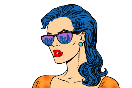 Woman in sunglasses with the reflection city Illustration