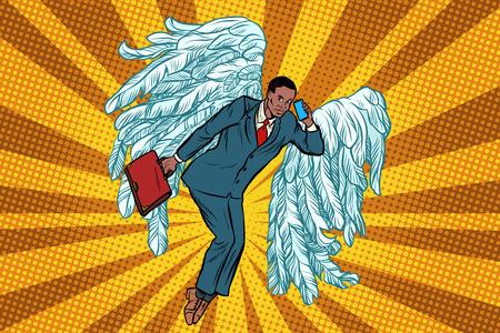 Business angel African businessman. Pop art retro vector illustration