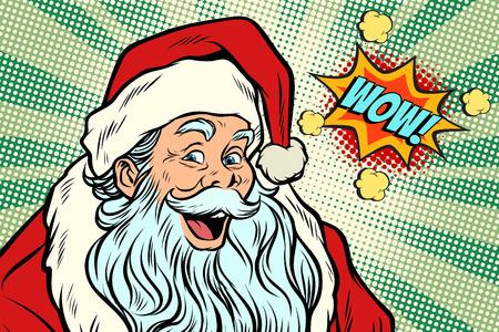 Wow Santa Claus. Pop art retro vector illustration Ilustração