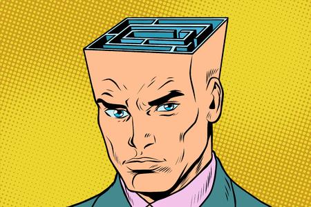 Head maze man thinks. Pop art retro vector illustration Illustration
