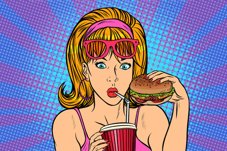Pop art woman with fast food. retro vector Illustrator