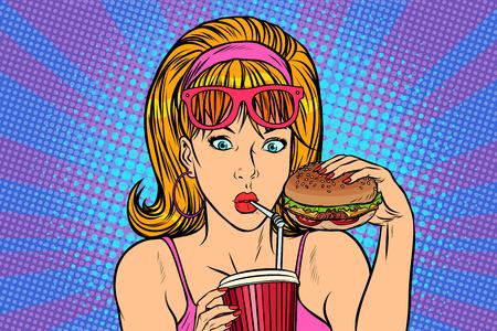 Pop-artu kobieta z fast food. retro wektor ilustrator