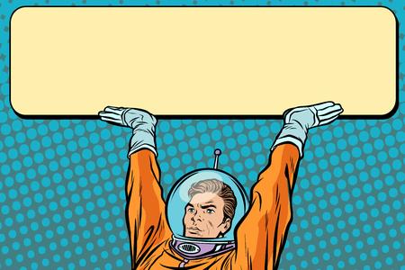 バナーポスターを持った宇宙飛行士。ポップアートレトロベクターイラストレーター