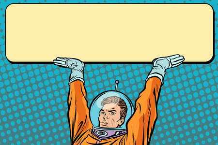Astronaut holding a banner poster. Pop art retro vector Illustrator Illustration
