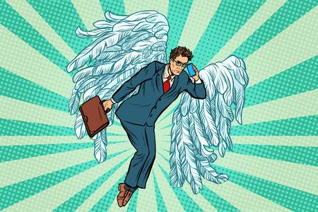 ビジネス天使ビジネスマン。ポップアートのレトロなベクトル図
