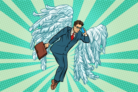 Uomo d'affari angelo d'affari. Illustrazione vettoriale retrò pop art Archivio Fotografico - 90041874