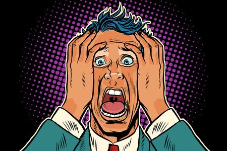 The man screams in fear and horror. Pop art retro vector illustration