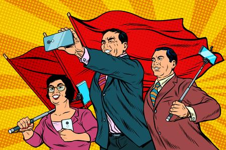 Empresarios chinos con teléfonos inteligentes y banderas, cartel socialista