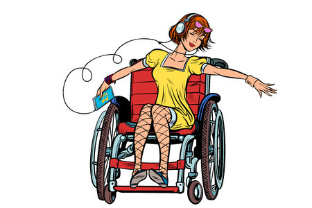 Dancing girl in a wheelchair, audio and music