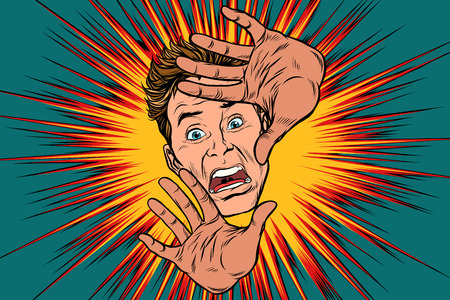 Scared man covered with hands Illustration
