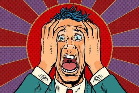 doodsbange man die zijn hoofd vasthoudt, paniekgezicht Stock Illustratie