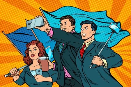 businessmen with smartphones and flags, poster socialist realism Banco de Imagens - 90215406