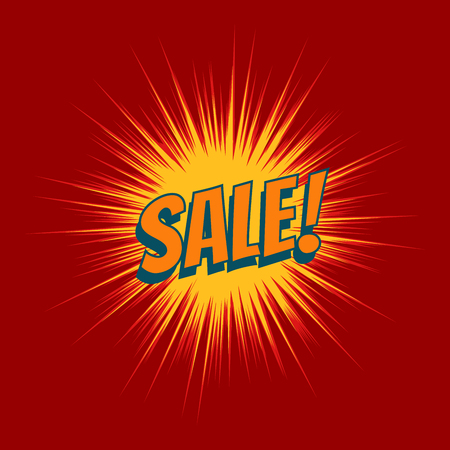 Sale text pop art red background Vector Illustration