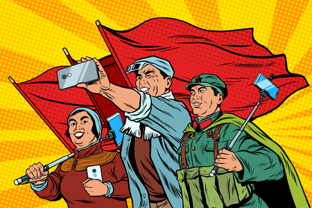 Chinese workers with smartphones selfie, poster socialist realis Stock Illustratie