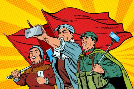 Trabajadores chinos con teléfonos inteligentes selfie, cartel socialista realis Foto de archivo - 90215407