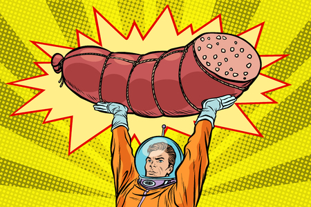 Astronaut and cooked sausage, meat products
