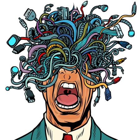 cabos de adaptador de fio de pessoas do pânico isolados no fundo branco. Pop art retro ilustração vetorial Ilustración de vector