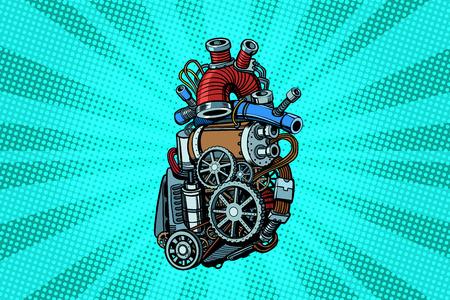 Steampunk heart motor. Pop art retro vector illustration